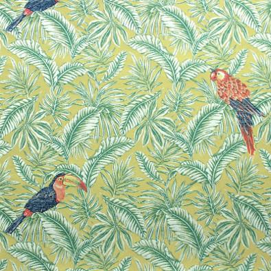 Tissu jacquard motif feuillage et perroquet