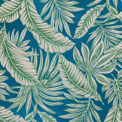Tissu jungle jacquard bleu motif vegetation