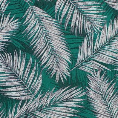 Tissu jacquard motif palmeraie - vert