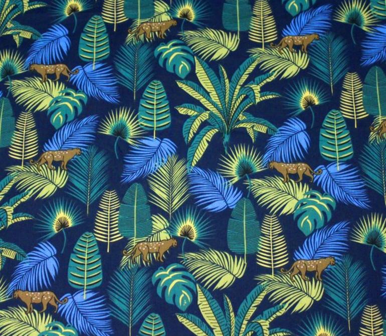 Tissu jungle coton - Forêt et félins