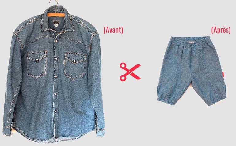 recycler une chemise en jean - pantalon bebe - bao