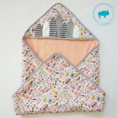 kit couture bébé - cape de bain corail - Super Bison