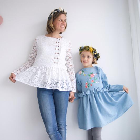 duo mere-fille - blouse Elona cousue par Labo d'Isa
