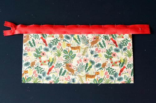 Tuto trousse - Assemblage du zip sur le tissu extérieur