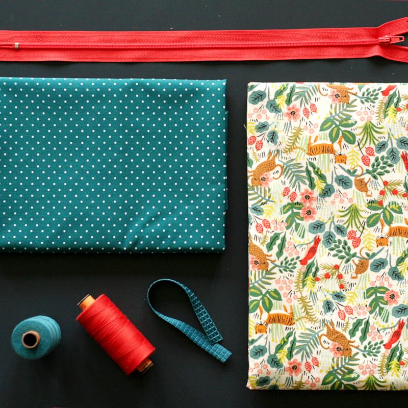 Tissus et fournitures pour réaliser une trousse - tuto trousse Louise Magazine