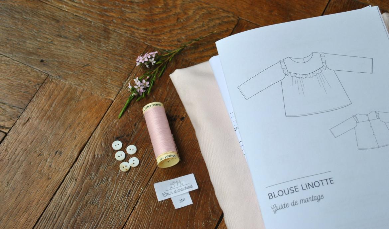 kit couture bebe - blouse linotte - cœur d'artichaut