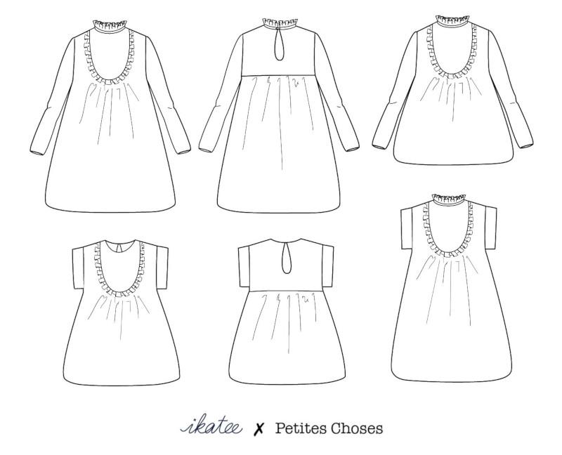 Dessin de la blouse Ida et ses variations - IKATEE