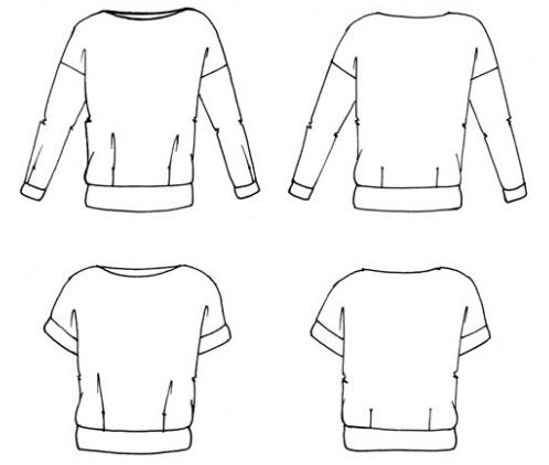 dessin technique du sweat Renan - patron Anna Rose patterns