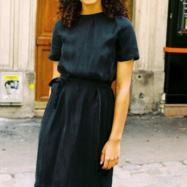Robe noire en cupro - Les Sublimes / Dressing Responsable