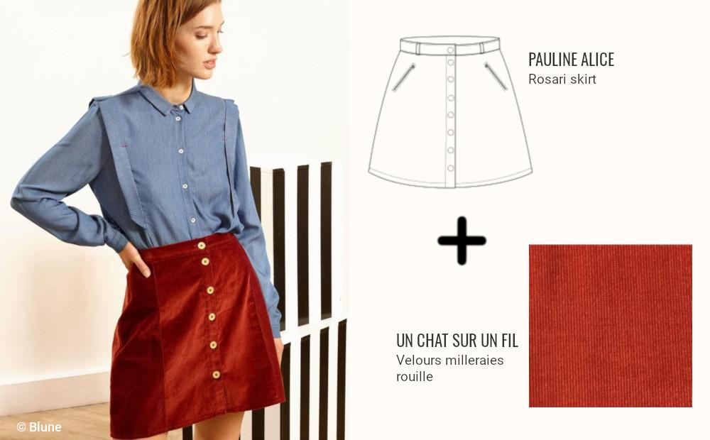 endance couture - jupe trapèze boutonnée en velours