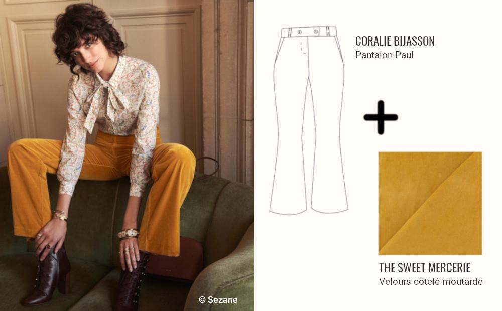 inspiration pantalon velours patte d'eph - sezane
