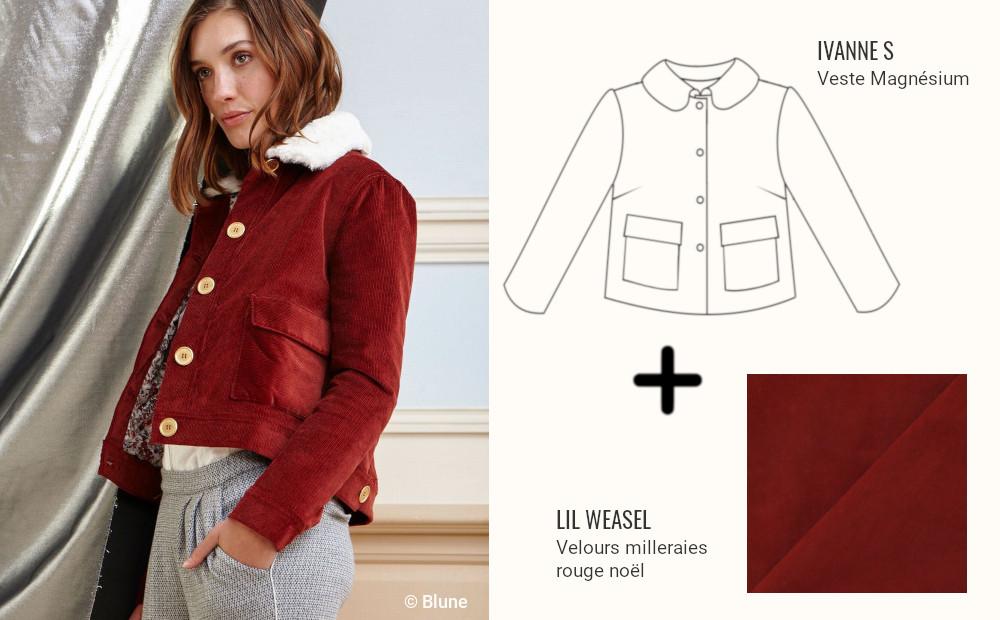 inspiration couture veste en velours côtelé bordeaux col fausse fourrure