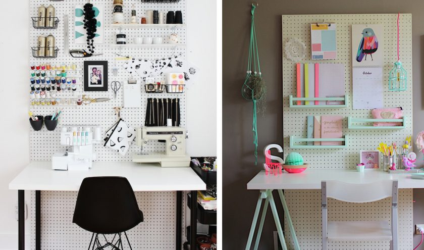 DIY organisateur mural ou pegboard pour coin couture