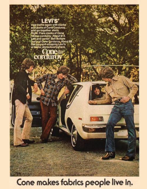Article des années 60 sur le velours cotelé chez Levis