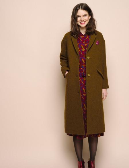 Manteau pepino olive 100% laine vierge - Des Petits Hauts