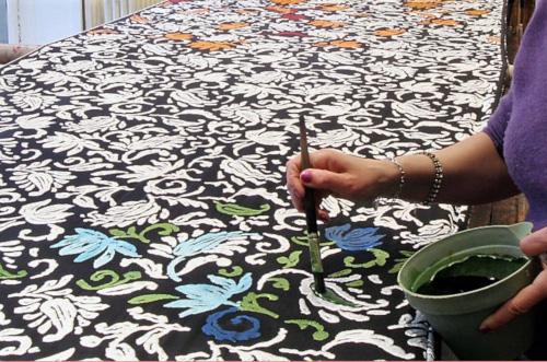 panne de velours peinte à la main