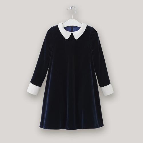 Robe en velours de coton bleu nuit - Opale