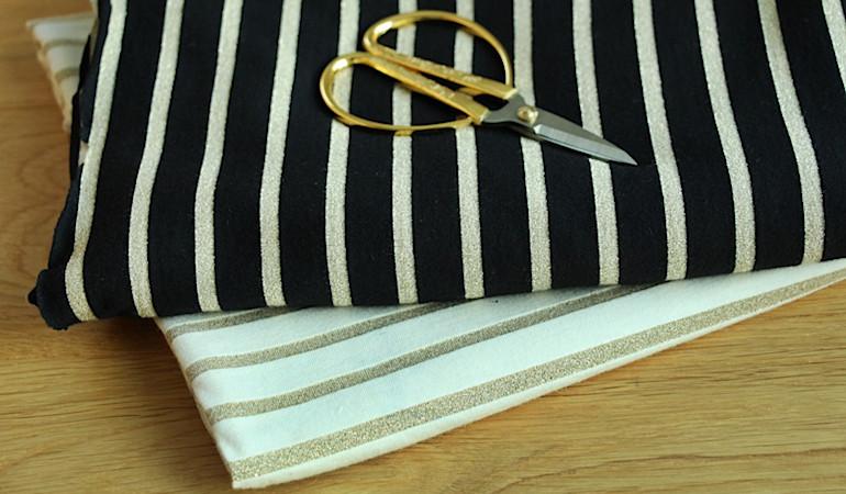 Tissu marinère lurex - un chat sur un fil