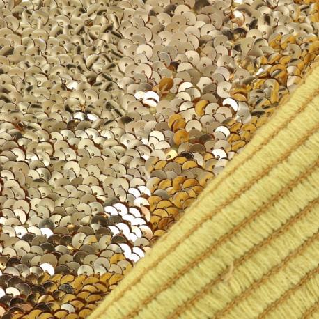 Tissu élastique à sequins dorés
