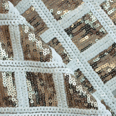 issu sequins carreaux or et blanc - Pretty Mercerie
