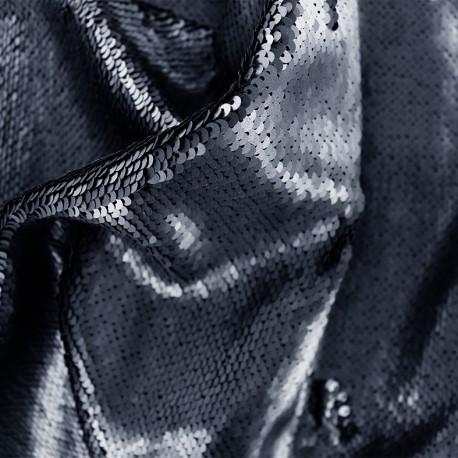 tissu à sequins mat bleu nuit