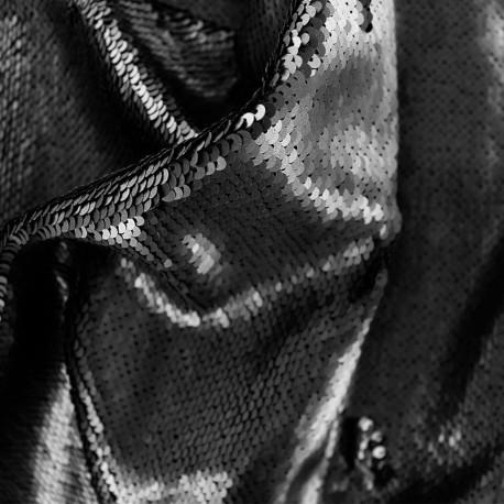 tissu à sequins noir mat