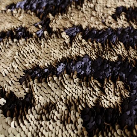 tissu à sequins reversibles noir et doré