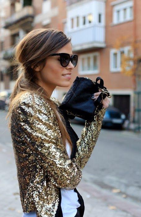 veste à sequins dorés