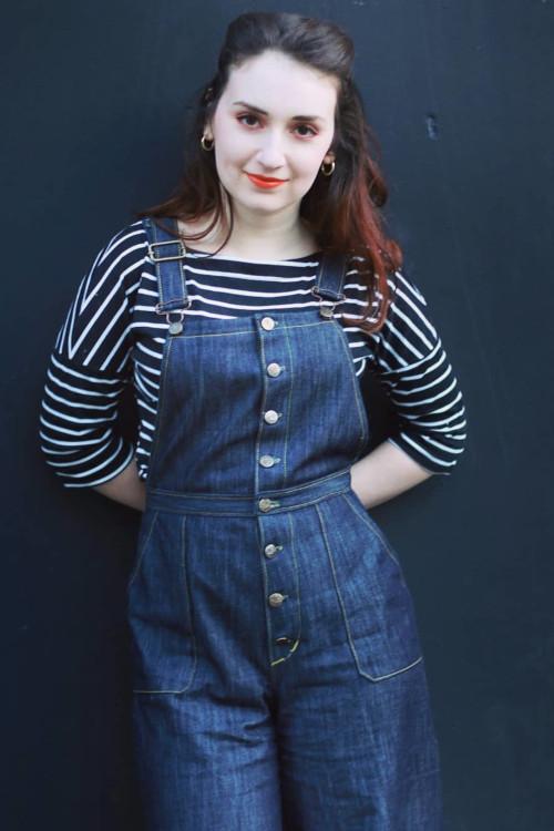 Salopette Jenny en jean avec boutonnage devant @rx.steph