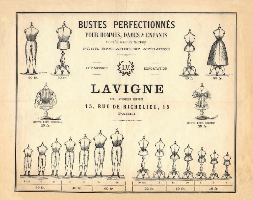 Publicité pour les bustes mannequins pour hommes, femmes et enfant de la Maison Lavigne.