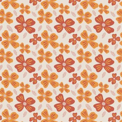Jersey GOTS flower power crème - Elvelyckan design