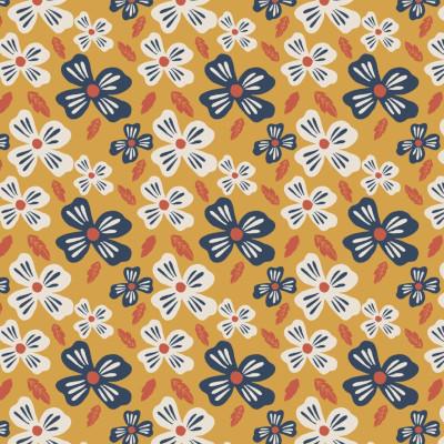 Jersey GOTS flower power gold - Elvelyckan design