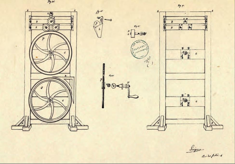 Dessin de la machine à fabriquer le mètre-ruban par Alexis Lavigne