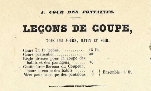 Publicité pour les leçons de coupe données par Alexis Lavigne - 1847