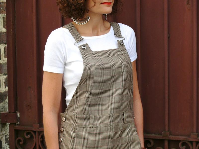 Salopette Danielle en tissu Prince de Galles cousu par la blogueuse Bee made