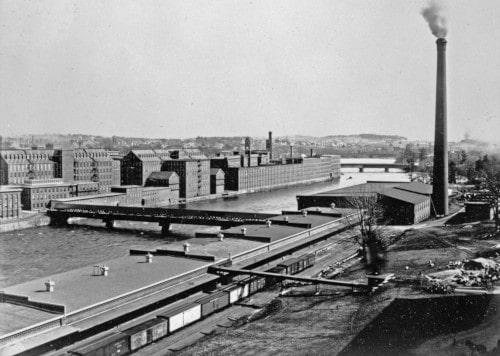 La manufacture d'Amoskeag, créée en 1931 à Manchester dans le New Hampshire (Etats-Unis)