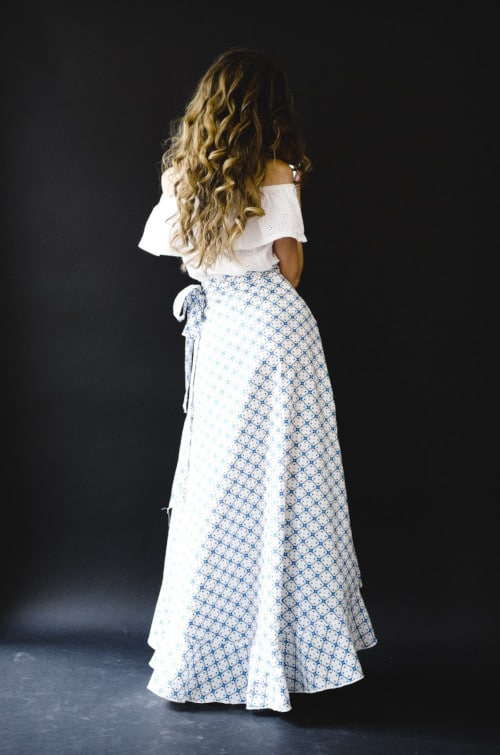 Jupe La Bohème en coton à motifs bleu et blanc - Vanessa Pouzet