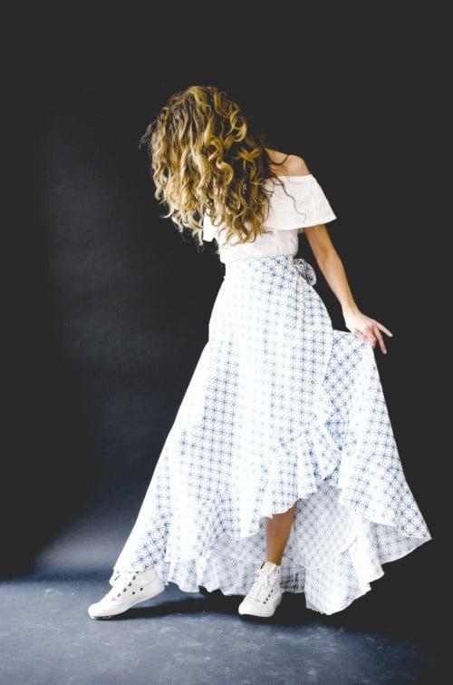 Jupe longue bohème Vanessa Pouzet coton bleu et blanc