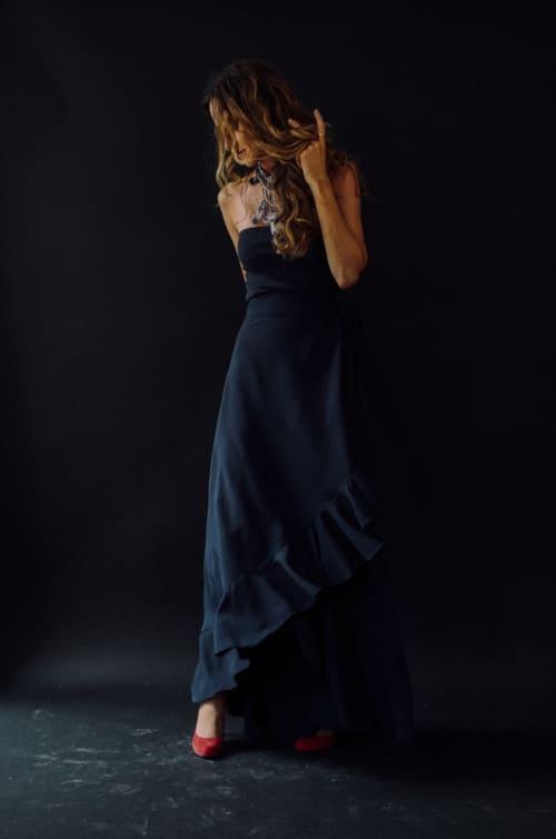 Jupe longue la bohème bleu nuit - Vanessa Pouzet