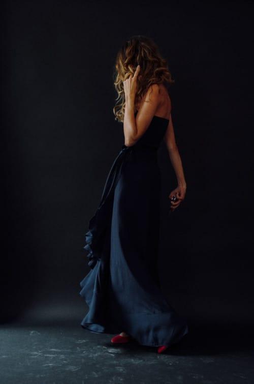 Maxi jupe bohème Vanessa Pouzet bleu marine
