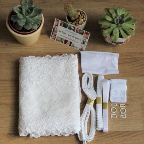 kit pour coudre un ensemble de lingerie dentelle blanche - je fais mes desssous