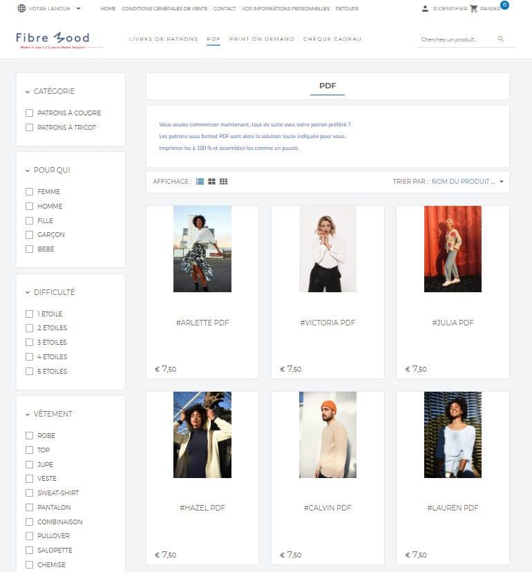 boutique en ligne Fibre Mood - patrons PDF