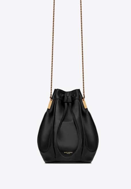 Sac seau cuir noir Yves Saint Laurent