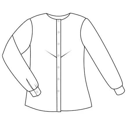 Dessin technique de la chemise vitamine - pince poitrine au milieu devant