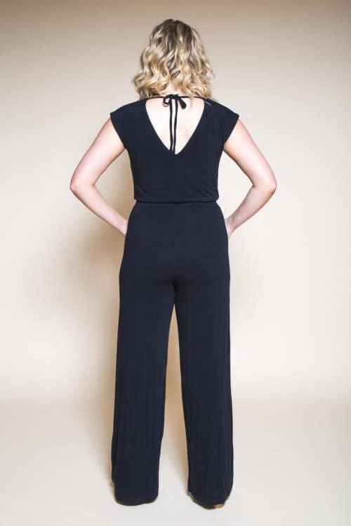 Combinaison pantalon Sallie jumpsuit noire vue de dos - Closet Case Pattern