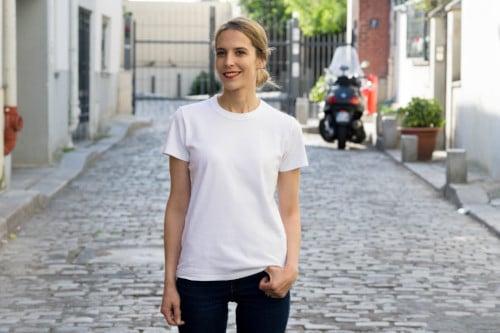 tee-shirt blanc interlock - Uniqlo