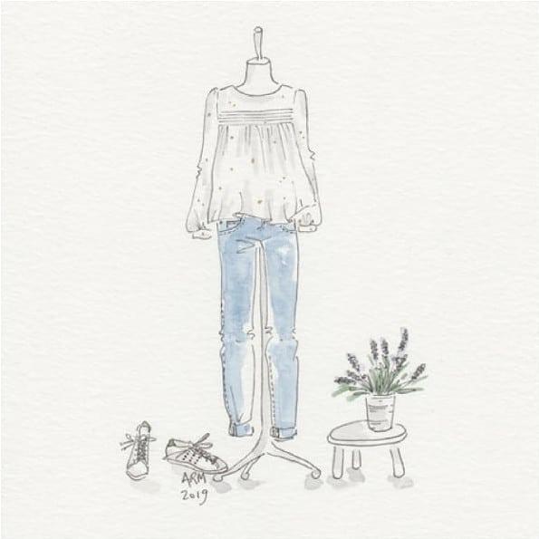 Blouse la Pétillante illustrée par Rebecca Meurin