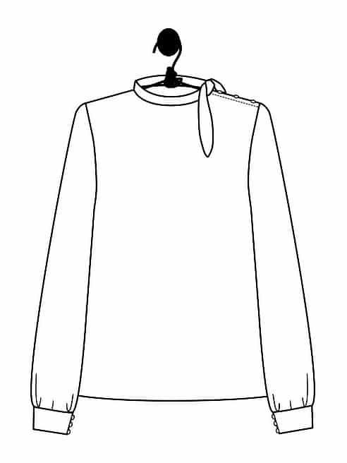 Dessin technique de la blouse Florence - Patron du Laboratoire Familial