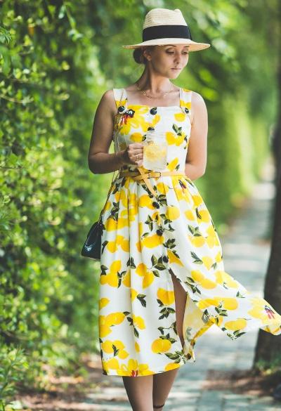 Robe imprimé citrons - myblondelegal