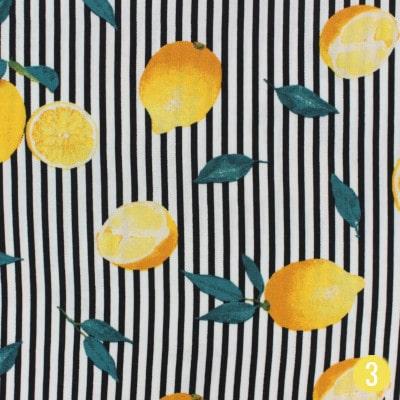 Viscose imprimée à rayures et citrons - Ma Petite Mercerie